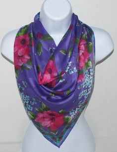FREE SHIP Large Vintage Floral Scarf in Purple Fuchsia Pink Turquoise Aqua Green White, Two Tone Fashion Accessory by DaintyDishyAndDivine on Etsy