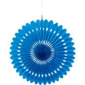 Royal Blue Paper Fan Decoration 16in