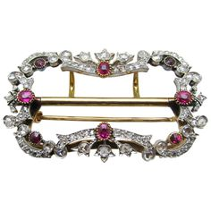 Magnificent Victoria diamond & ruby brooch/buckle