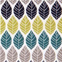 Tissu Michael Miller Rustique Leaf Press, feuilles sarcelle