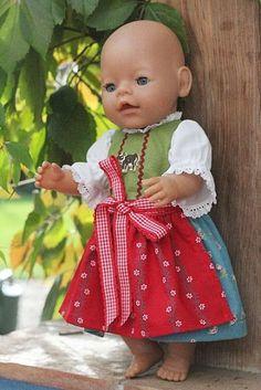 Größe 56 cm Puppen Mode Kleid Haube 2 Teile