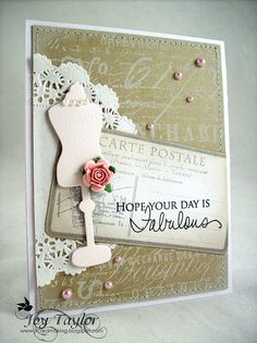 Background stamp from the Pappillon stamp set.  Carte Postale is from Hero Arts.