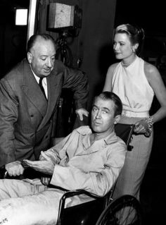 Alfred Hitchcock, James Stewart & Grace Kelly on the set of Rear Window