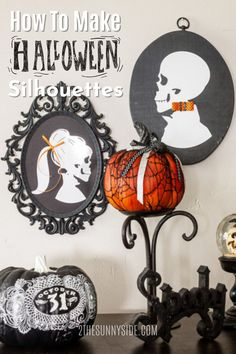 Are you looking for a unique idea for decorating for Halloween that is   cheap and easy? You'll love this Halloween decorating idea created from   thrift store finds. Making this cameo Halloween Skeleton Silhouette   decor is simple and affordable. #halloweendecor #thriftstorefinds   #upcycle