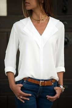 Flash Deals White Blouse Long Sleeve Chiffon Blouse Double V-neck Women Tops and Blouses Solid Office Shirt Lady Blouse Shirt Blusas Camisa The Office Shirts, Work Shirts, Loose Shirts, Mode Outfits, Fashion Outfits, Style Fashion, Jeans Fashion, Ladies Fashion, Fashion Blouses