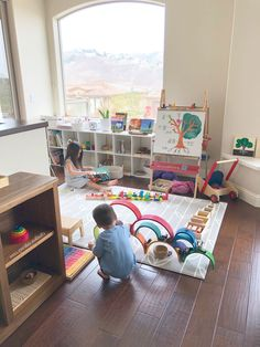 *Kids: Bedrooms, play spaces, decor Playroom Ideas - Get inspired to redecorate your kid's playroom with among these 30 stylish ideas that use color, storage space, and also much more. Play Spaces, Playroom Ideas, Daycare Ideas, Small Rooms, Cool Kids, Storage Spaces, Kids Toys, Improve Yourself, Learning