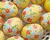 Real hand-painted Easter eggs - set of 6 eggs