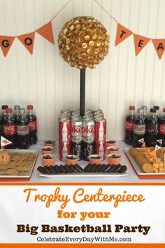 DIY Trophy Centerpiece for your Big Basketball Party