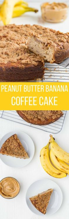 This recipe for Peanut Butter and Banana Coffee Cake is going to have you drooling. I can think of no better way to wake up in the morning than to a large slice of breakfast cake. It's wonderful with a cup of coffee and is definitely the best way to start your day.
