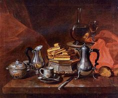Andre Bouys (French artist, 1656-1740). Still Life with Silver and Biscuits