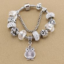 2015 Fashion Glass Beads Owl Charm Bracelets & Bangles Fit Pandora Bracelet Making Silver Bracelets for Women Jewelry(China (Mainland))