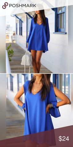 "Selling this BLUE Longsleeve ""Gracie"" DRESS HI-Low on Poshmark! My username is: austin_gal. #shopmycloset #poshmark #fashion #shopping #style #forsale #austin gal #Dresses & Skirts"