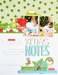 Bella Blvd Make It Merry and Christmas Cheer collections, and Clear Cuts specialty papers. Xmas Notes layout b creative team member Leanne Allinson.
