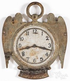 Painted cast iron watch clock trade sign, 19th c. Cast Iron, It Cast, Old Stone, Decorative Accessories, Clocks, Sculptures, Pottery, Sign, Watches