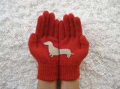 Hey, I found this really awesome Etsy listing at https://www.etsy.com/listing/170468226/dog-gloves-doxie-gloves-dachshund-red