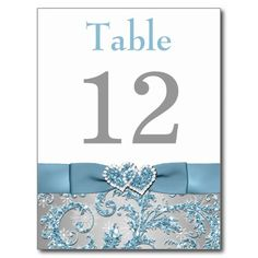 Winter Wonderland, Joined Hearts Table Number Card Post Cards