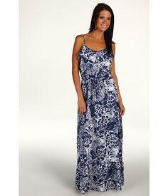 "DKNY Jeans ""Hawaii Flower"" Printed Flounce Maxi Dress Surf Navy - 6pm.com"