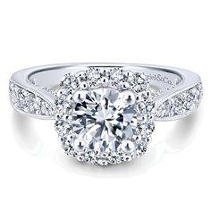 Jessamine 14k White Gold Round Halo Engagement Ring angle 1