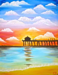 Pier at Sunset - from Wine and Canvas (but make the clouds less perfect)