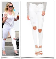 White Ripped jeans: Who wore it better? Frame Denim Le color as seen on Eva Langoria, Hilary Duff, Jennifer Lopez, Alessandro Ambrosio, Khloe Kardashian, ..