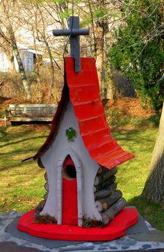 God of the Sparrow Chapel Birdhouse. church by adventureoriginals