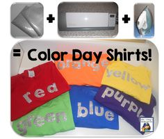 Mrs. Stamp's Kindergarten: Monday Made It: Color Day Shirts! What a fun idea... for me to wear