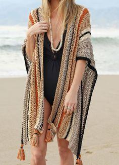 Saving for future color combo Cotton Cardigan, Crochet Cardigan, Crochet Shawl, Knit Crochet, Mode Hippie, Mode Crochet, Summer Cardigan, Moda Boho, Knitting Kits