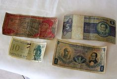 LOT OF 4 VINTAGE PAPER MONEY BILLS, MEXICO, INDONESIA, BRASIL, COLOMBIA
