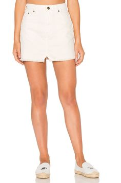 Free People Step Up Denim Mini Skirt in Ivory