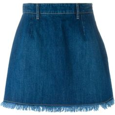 Each X Other frayed edge denim skirt (306 CAD) ❤ liked on Polyvore featuring skirts, blue, knee length denim skirt, denim skirt, blue denim skirt and blue skirt