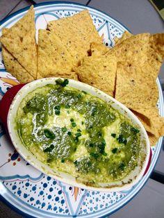 white queso with roasted poblano vinaigrette - vegan dip