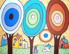 Artistic Tree, Karla Gerard, Josephine, Needlepoint Kits, Naive Art, Doodle Drawings, Tree Designs, Art Plastique, House Painting