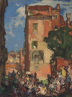 Frank William Brangwyn, Venice, departure for a wedding, Rio San Agostin