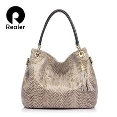 REALER brand handbag women genuine leather bag female hobos shoulder bags  high quality leather tote bag 1a7f8981d2d6d