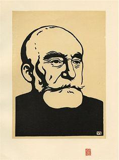 """Felix Vallotton original woodcut """"Puvis de Chavannes"""""""
