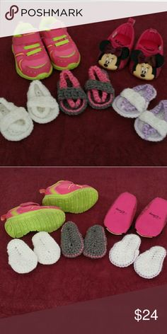 Infant Girls Shoes Bundle of 5 pairs of shoes.  3 crochet sandals ( fits up to 6mo ) Minnie Mouse 3/6 mo.  Garanimals size 2  * *  Selling all together as a bundle only! Disney Shoes Baby & Walker