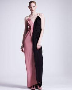 Lanvin Colorblock Silk Gown - Neiman Marcus