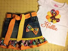 Adorable thanksgiving outfit turkey shirt and skirt