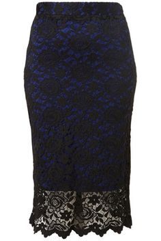 Lace Overlay Pencil Skirt - StyleSays