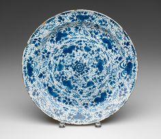 RISD Museum: Unknown artist, Dutch, Plate, 1650-1675. Earthenware with tin glaze and enamel. Diameter: 34.3 cm (13 1/2 inches). Gift of Theodora Lyman 19.312