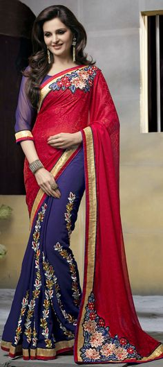 165050: Blue, Red and Maroon color family Embroidered Sarees, Party Wear Sarees with matching unstitched blouse.