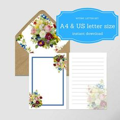 Letter Writing Set  Sheets A  Us Letter Size Envelope