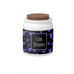 Shop Black & Purple Kitty Pattern Candy Jar created by thepawkinglot. Custom Candy, Creature Comforts, Cat Treats, Having A Blast, Hard Candy, Candy Jars, Pet Shop, White Porcelain, Colorful Backgrounds