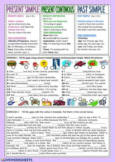 Present simple - present continuous - past simple - Interactive worksheet English Grammar Tenses, Teaching English Grammar, English Grammar Worksheets, English Vocabulary, Simple Past Tense Worksheet, Present Continuous Worksheet, Present Continuous Tense, Present Past Tense, Present Tense Verbs