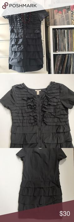 "🎶J. CREW Ruffle Shirt Dress J.Crew Button-down Ruffle Shirt Dress Dark charcoal gray  Front ruffle detail  Safari Vacation Style Size 2 Measurements laying flat  Bust 17"" Waist 16"" Hip 18"" Total Length 34"" Amazing preowned condition 8.8/10 J. Crew Dresses"