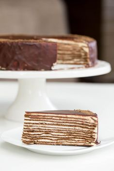 Chocolate Layer Cake (aka Spartak Cake) slice on a plate Russian Honey Cake, Russian Cakes, Bolo Russo, Crepes, Cake Recipes, Dessert Recipes, Crepe Cake, Cake Servings, Chocolate Recipes