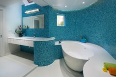 Kids Bathroom with blue tiles - in Modern Home in Southern California - Architecture / Interior Design