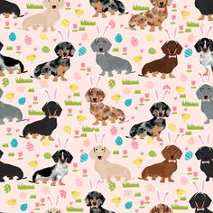 doxie easter egg fabric dachshund dogs fabric easter eggs by petfriendly