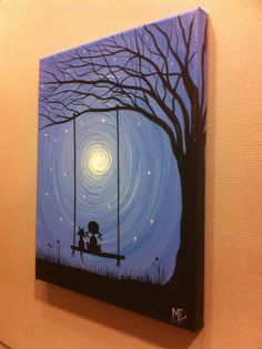 """I might have to try painting this - so cute! Maybe to go with """"I love you to the moon and back"""" theme?"""