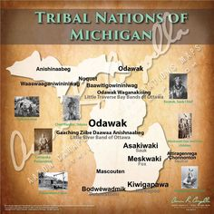 Tribal Nations of Michigan Map Native American Map, American Indian Art, North America Map, Indian Tribes, Historical Maps, Nativity, Michigan, Rock Hunting, Common Names